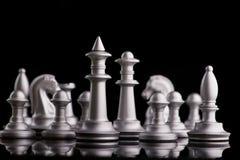 Gesetzte Schachfiguren des Silbers auf einem Schwarzen Lizenzfreie Stockfotos