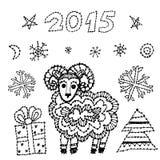 Gesetzte Schafe des Symbols 2015 des neuen Jahres, Fichte, Schneeflocken Stockfotografie