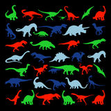 Gesetzte Schattenbilder des Vektors des Dinosauriers Lizenzfreie Stockfotos