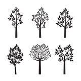 Gesetzte schwarze Bäume mit Blättern Auch im corel abgehobenen Betrag vektor abbildung