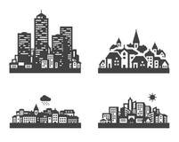 Gesetzte schwarze Ikonen der Stadt Zeichen und Symbole Stockfoto