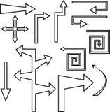 Gesetzte schwarze Konturnpfeile und -zeiger vektor abbildung