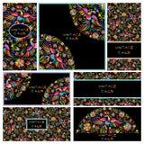 Gesetzte schwarze Visitenkarten mit mexikanischem mit Blumenmuster vektor abbildung