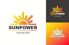 Gesetzte Steigungsart des Sun-Energielogos für Symbol der natürlichen Energie, eco Firma Lizenzfreie Stockfotografie