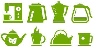 Gesetzte Teekanne und Schale des Grüns Stockfotos
