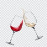 Gesetzte transparente Gläser mit weißem und Rotwein vektor abbildung