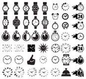 Gesetzte Uhren der Ikone Lizenzfreie Stockfotografie
