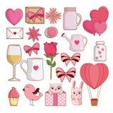 Gesetzte Valentinsgrußtagesdekoration zur Romanze Feier lizenzfreie abbildung