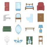 Gesetzte Vektorikonen der Möbel Sammlung des Innenraums, Haus, Komfortikonen Lizenzfreie Stockfotografie