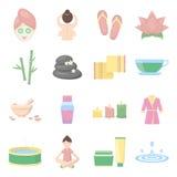 Gesetzte Vektorikonen des Badekurortes Sammlung Schönheit, Make-up, Massageikonen Stockbilder