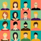 Gesetzte Vektorikonen des Gesichtes Sammlung des Benutzers, Avatara, Profilikonen Stockfotografie
