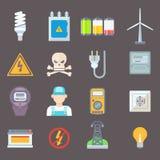 Gesetzte Vektorillustration der Energie und der Ressourcenikone Lizenzfreies Stockbild