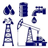 Gesetzte Vektorillustration der Erdölindustrie-Ikone Stockfotos
