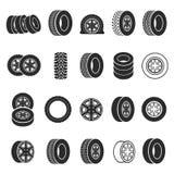 Gesetzte Vektorillustration der Reifen- und Radikone lizenzfreie abbildung