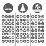 Gesetzte Vektorillustration der Technologie-, Weihnachts-und Sommer-Ikone Lizenzfreie Stockfotos