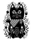 Gesetzte Vektorillustration der Völker mit schwarzer Katze und Blumen lizenzfreies stockfoto