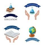 Gesetzte Vektorillustration des Bildungslogos Stockfotos