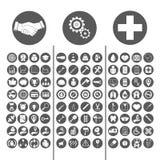 Gesetzte Vektorillustration des Geschäfts, des Ingenieurs und der medizinischen Ikone Lizenzfreies Stockbild