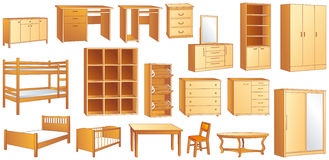 Gesetzte Vektorillustration des Holzmöbels Stockfotografie