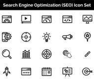 GESETZTE Vektorillustration SEO Icons stock abbildung