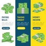 Gesetzte Verpackung Geld-Dollar-Fahne Vecrtical in den Bündeln Banknoten Vektor Lizenzfreies Stockbild