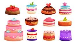 Gesetzte verschiedene Arten von Kuchen Bonbon gebackene Nachtische Köstliche Nahrung Lizenzfreies Stockbild