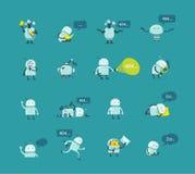 Gesetzte verschiedene Situationen des Charakterroboters 404 gefundene lustige Reparaturen der Fehlerseite nicht Der transparente  vektor abbildung