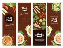 Gesetzte Vertikale der thailändischen Nahrungsmittelfahne Lizenzfreies Stockbild