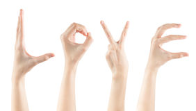 Gesetzte weibliche Handgesten, die Wort LIEBE machen Lizenzfreie Stockbilder