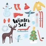 Gesetzte Winterkleidung des netten Vektors Stockfotografie