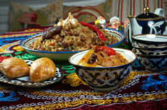 Gesetzte zentrale asiatische Küche des Lebensmittels Stockfotos