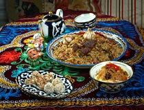 Gesetzte zentrale asiatische Küche des Lebensmittels Stockbild