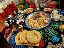 Gesetzte zentrale asiatische Küche des Lebensmittels Lizenzfreies Stockfoto