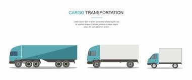 Gesetzter blauer Fracht-Lieferwagen lokalisiert auf weißem Hintergrund stockfoto