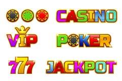 Gesetzter bunter JACKPOT, POKER, 777, KASINO und Promi Logo des Vektors Goldchips Lizenzfreie Stockfotografie