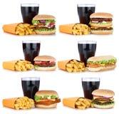 Gesetzter Cheeseburger der Hamburgersammlung und Pommes-Fritesmenümahlzeit Stockfotografie
