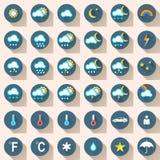 Gesetzter flacher Ikonenschnee Wheather, Regen, Sonne, Wolke, Auto, Leute Stockbilder