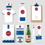 Gesetzter Flieger des Vektorrestaurant-Cafés, Menü, Paket, Hemd, Kappe, einheitliches Design Lizenzfreies Stockfoto