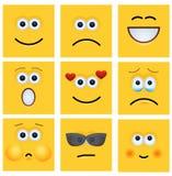 Gesetzter Hintergrund des modernen gelben Gesichtes des Vektors lizenzfreie abbildung