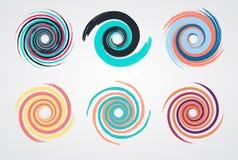 Gesetzter Kreis des Farbspiralen-Strudels Stockbilder