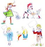 Gesetzter lustiger Charakterzombie, handgemalte Bleistift-Zeichnung Stockfotos