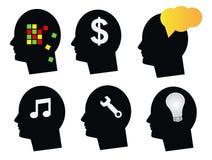 Gesetzter menschlicher Kopf des Sinneskonzeptes Lizenzfreie Stockbilder