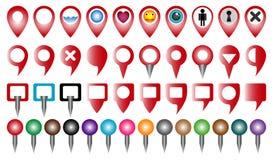Gesetzter multi farbiger Zeiger oder Stift für Karte und gps-Standort vektor abbildung