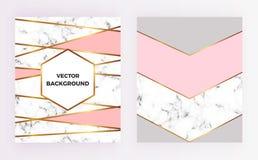 Gesetzter Poster der geometrischen Designe mit Gold-, Creme-, Grau-, Pastellrosafarbe- und Marmorbeschaffenheit stripesr Hintergr lizenzfreie abbildung