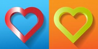 Gesetzter roter grüner Herzrahmen auf strukturiertem Hintergrund Stockfoto