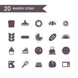 Gesetzter Vektor der Bäckereiikone Schattenbildikonen Stockfotos