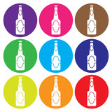 Gesetzter Vektor der Bierflasche-Ikone Lizenzfreies Stockbild