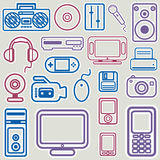 Gesetzter Vektor der elektronischen Ikone Stockfoto
