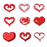 Gesetzter Vektor der Herzvalentinsgruß-Ikone Stockfotos