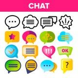 Gesetzter Vektor der Spracheblasenikone Schwätzchen-Dialog-Gesprächs-Rede sprudelt Ikonen App-Piktogramm Sozialform der mitteilun vektor abbildung